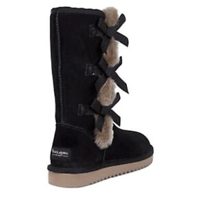 KOOLABURRA BY UGG VICTORIA TALL BLACK SOFT SUEDE FUR WOMENS BOOTS NEW $84.96