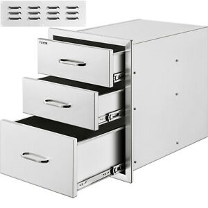 18 x 23BBQ Walled Triple Drawers Access Stainless Steel Storage Cabinet