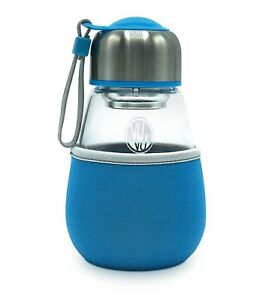 Glass Travel Tumbler with tea infuser + removable sleeve, 16oz/180ml Blue