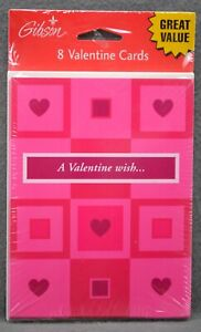 Valentine's Day Card  Red Pink Hearts Gibson NIP Pack of 8 Cards Envelopes