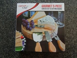 GOURMET 5 PIECE CHEESE SET & CUTTING BOARD * GRANDE CHEF * SWIVEL * GREAT GIFT