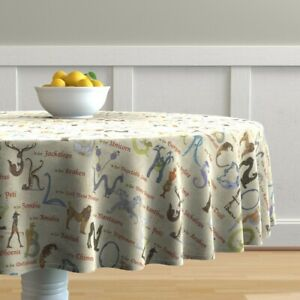 Round Tablecloth Mythical Beasts Alphabet Letters Typography Cotton Sateen