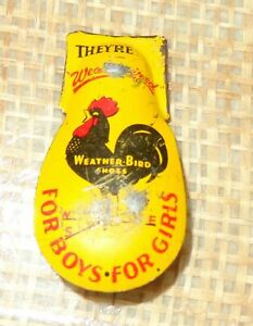 OLD VINTAGE METAL WEATHER BIRD SHOES TOY CLICKER ROOSTER ADVERTISEMENT CHICKEN $4.00