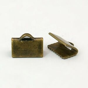 20 x Brass Ribbon leather Ends Bronze about 10mm long diy jewellery craft AU $5.50