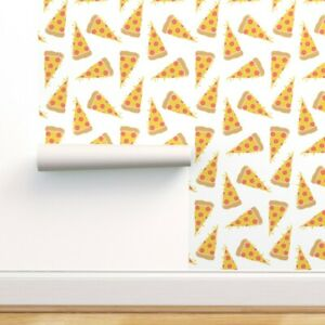 Peel-and-Stick Removable Wallpaper Pizza, Junk Food, White Pepperoni, Cheese,