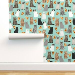 Peel-and-Stick Removable Wallpaper Green Pizza Cat Cats Pizzas