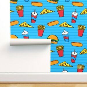 Peel-and-Stick Removable Wallpaper Hamburger Hotdog Fries French Soda Pop Pizza