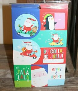 Christmas Gift Tags 120 Piece Sticker Package Santa Penguin Be Jolly CHB4