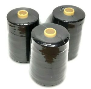 3 pcs .All Purpose Polyester Sewing Thread 10000 yards Each Tex 27 Black $23.95