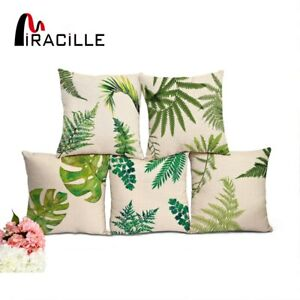 Miracille Cotton Linen Square Palm Tree Tropical Leaf BedRoom Waist Pillow