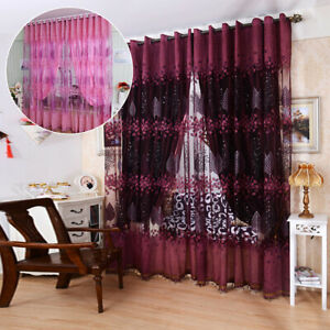 39quot;x98quot; Panel Floral Sheer Voile Net Window Curtains Drape Room Tulle Scarf US