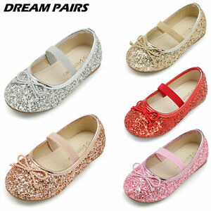 DREAM PAIRS Girls Flat Shoes Toddler Glitter Mary Jane Shoes Party Dress Shoes