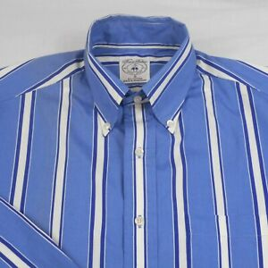 Vtg Brooks Brothers Sport,L S, Button Down,Blue Striped Casual Shirt Men's Small $16.79