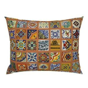 Talavera Mexican Tile Colorful Bold Pillow Sham by Roostery