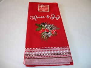 New! Embroidered Flat Cotton Christmas Peace Joy Kitchen Towel Hand Dish Towel