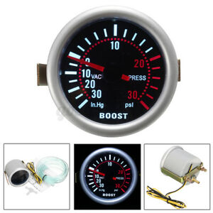 Car 2″ 52mm White Digital LED Turbo Boost Gauge PSI Pressure Meter 12V Universal