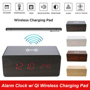 Wooden LED Alarm Clock with Qi Wireless Charging Pad Sound Control Charger Tool