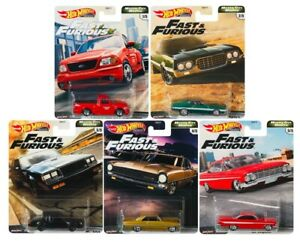 2020 Hot Wheels Fast & Furious V8 Premium Motor City Muscle Set of 5 Cars, 1 64