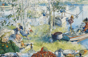 Cray Fishing with the Family by Carl Larsson Paper Print Repro