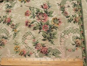 French Antique Roses amp; Lace Cotton Jacquard Tapestry Sample Fabric L 15quot; X W 23quot; $44.00