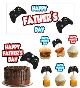 Fathers Day Decorations Decorating Banners Food Cupcake Toppers Xbox Controller