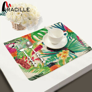 Miracille High Quality Dining Table Mats Bird and Flower Series Cotton Linen