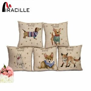 Miracille Dachshund Dog Cushions Without Inner Fox Animals Square Cotton Linen