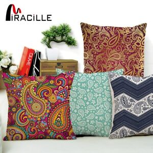 Miracille Square Cotton Linen Bohemia Paisley Printed Cushion Cover for Chair