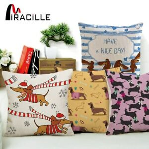 Miracille Square Dachshund Cushion Cover Dog Printing Linen Throw Pillows for