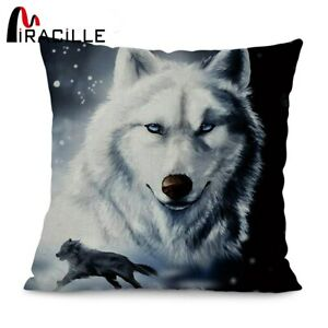 Miracille Cotton Linen 18inches Square Wolf Printed Home Sofa Decorative Throw