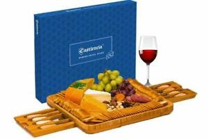 Bamboo Cheese Board with Cheese Tools, Cheese Plate Charcuterie Serving Tray