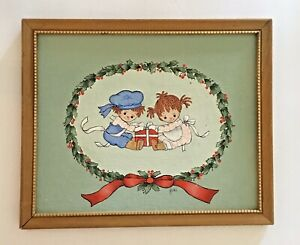 Framed Original Painting Raggedy Ann and Andy Signed by Herd Nursery Holiday $49.00