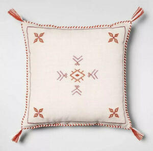 Opalhouse Target NEW Cream Red Global Square Throw Pillow 18