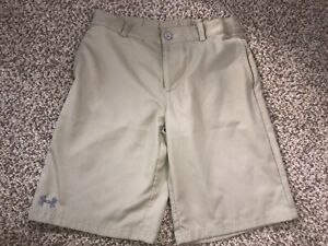 Boys Under Armour Heatgear Beige Tan Grey Logo Golf Shorts Youth Size Large YLG $17.99