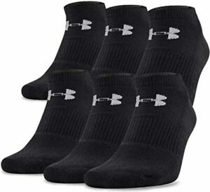 3 Pair Mens Under Armour Charged Cotton 2.0 No Show Socks Black Size 8 12 $13.99