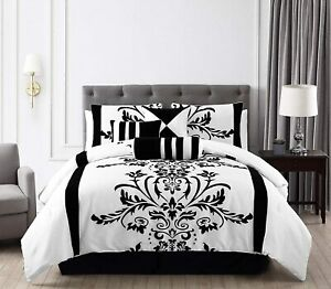 Chezmoi Collection 7 Piece White Black Flocked Floral Comforter Set Or Curtain