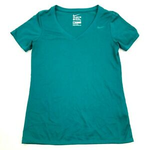NEW Nike Dry Fit Shirt Size Small Athletic Cut Green V neck Athletic Leisure Tee $11.26