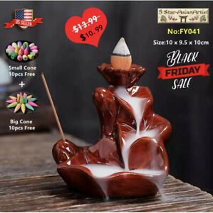 Ceramic Backflow Incense Cone Burner Holder Lotus WaterfallF& 10 Cones Gift