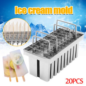 20pcs 304 Stainless Steel Molds Ice Pop Lolly Popsicle Ice Cream Stick Holder