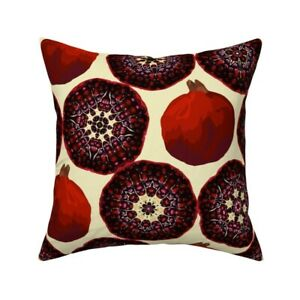 Pomegranate Food Fruit Modern Throw Pillow Cover w Optional Insert by Roostery