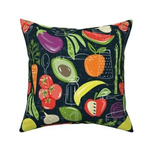 Food Vegetable Fruit Produce Throw Pillow Cover w Optional Insert by Roostery