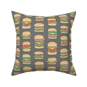 Hamburgers Food Fast Junk Throw Pillow Cover w Optional Insert by Roostery