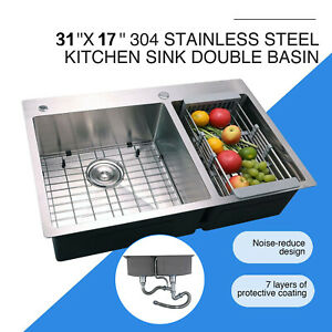 Stainless Steel Double Bowl Kitchen Sink Wash Basin Top/Undermount Square Sink