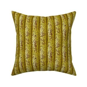 Bananas Banana Food Yellow Throw Pillow Cover w Optional Insert by Roostery