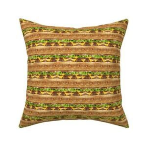 Hamburger Food Lunch Cheese Throw Pillow Cover w Optional Insert by Roostery