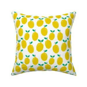 Food Lemon Yellow Fruit Throw Pillow Cover w Optional Insert by Roostery