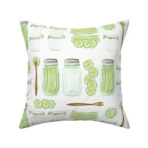Pickles Food Kitchen Green Throw Pillow Cover w Optional Insert by Roostery