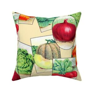 Seeds Vegetables Food Retro Throw Pillow Cover w Optional Insert by Roostery