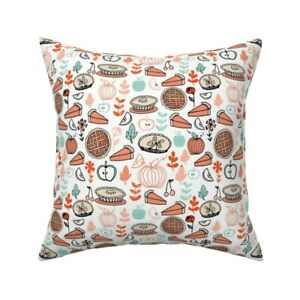 Pies Pumpkin Thanksgiving Food Throw Pillow Cover w Optional Insert by Roostery