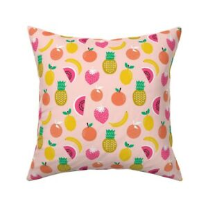 Fruity Pink Food Tropical Throw Pillow Cover w Optional Insert by Roostery